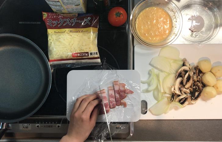 ジャガイモとベーコンの簡単スペイン風オムレツ