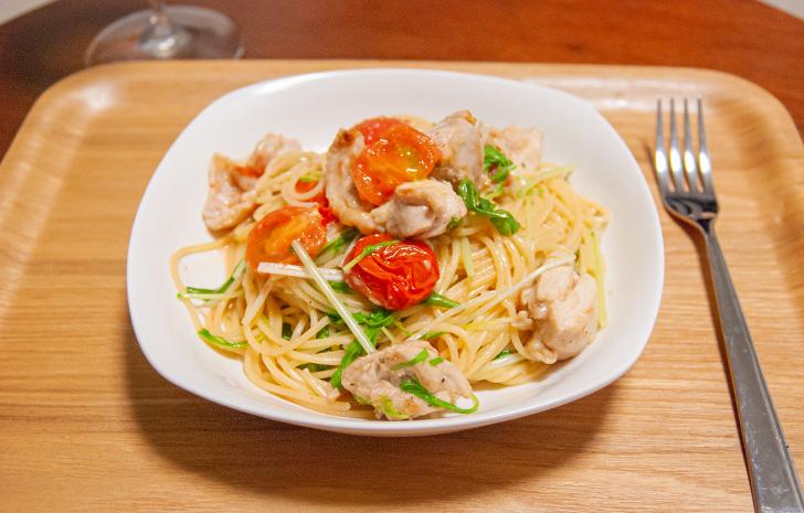 レモンガーリックチキンと水菜のスパゲッティー